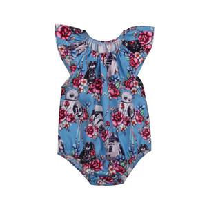 Robot elegante de la flor del recién nacido niño de los bebés lindos florales mono del mameluco PLAYSUIT Conjuntos de ropa