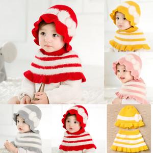 2 piezas de tendencia de la moda para niños pequeños para niños de los bebés de la princesa de la bufanda gorras sombrero Conjuntos de punto caliente del invierno del mantón más nuevo traje ocasional encantador
