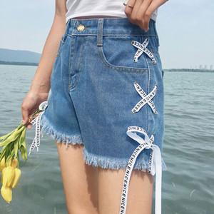 Summer Women Denim Shorts Pockets Bandage High Waist Lady Girl Casual Short Jeans QL Sale
