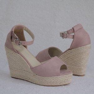 Hot Sale-Plus Size böhmische Frauen Sandalen Riemchen Stroh-Plattform zwängt Für Damen Schuhe Flock High Heels Abdeckung Heel Sandale