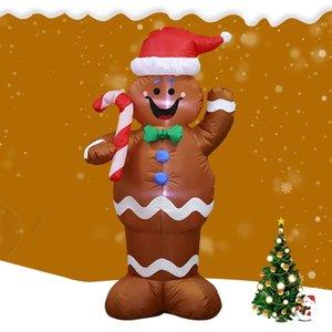 LED 크리스마스 풍선 LED 진저 맨 쿠키 실내 야외 마당 Airblown 장식 재미있는 크리스마스 파티 표시를 점등