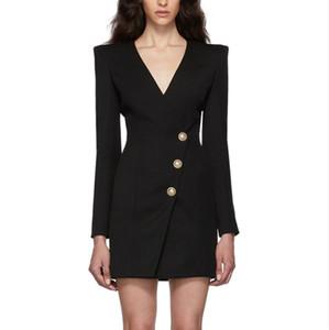 Hot New Style Top Quality Original Design Women's Deep V Dress Slim Pack hip Dress Metal Buckles Formal Working Dress OL Suit