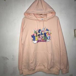 New Pink Blau Sweatshirts Männer Frauen Cotton Stickerei Cartoon Vetements Hoodie Hiphop Vetements Pullover