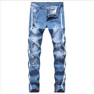 Мужские джинсы Новая мода рваные джинсы Мужчины выдалбливают Printed Нищий обрезанные брюки Man Ковбои Демин Брюки Мужской Азиатский размер