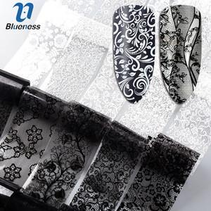 Blueness 10Roll / Set Negro Blanco Nail Foil Transfer Pegatinas Encaje Flor Mix Diseño Manicura DIY Nail Art Decoraciones Pegatinas