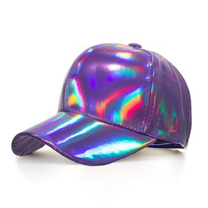 New arrival Outdoor Shining PU Solid color Laser Baseball Cap Unisex Super cool Snapback Hats Casual ajustável Sun Shade Caps