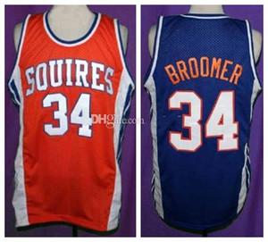 Semi Pro Film Virginia Squires Minanser Broomer # 34 Retro Jersey di pallacanestro Mens cucito su misura Qualsiasi Numero Nome maglie
