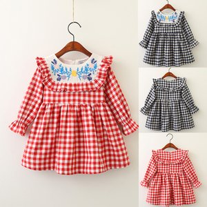 New Spring Baby Girls Dress Children's Embroidered Plaid Stitching Princess Dresses Kids Long Sleeve Doll Collar Clothing