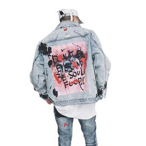 Personalità degli uomini del cowboy del cappotto spruzzi d'inchiostro graffiti Giacca di jeans sfrangiati rotto Hip Hop Hole panno allentato Patch Design Outerwear