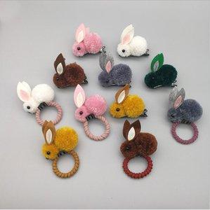Sostenedor de los oídos de conejo diadema Diadema Scrunchies 3D mullido horquilla niñas Cola de caballo de pelo lazos del pelo del anillo del pelo de Headwear Accesorios D7105