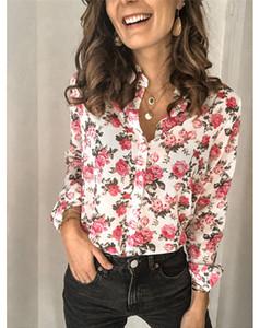 Bahar Kadınlar Çiçek Baskılı Gömlek Seksi OL Kadın Yaka Boyun Bluzlar Moda Tasarımcısı Kadın Giyim