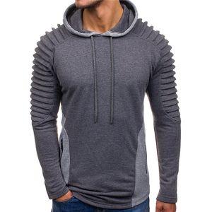 Tops para hombre de la moda para hombre con paneles drapeado diseñador sudaderas con capucha de la cremallera delgado suéter con mangas larga