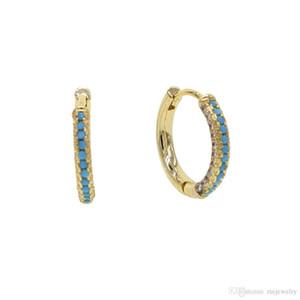 2019 작은 입방 지르콘으로 포장 된 빈티지 터키석 원 귀걸이 둥근 문 여성용 여성용 귀걸이 Stud Earrings Bijoux