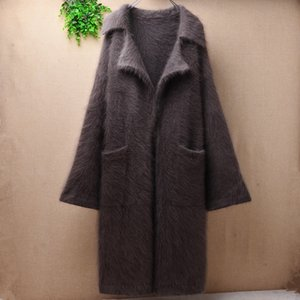 NEW arrival Women Ladies fashion long outwear clothes turn-down collar Mink Cashmere knit Sweaters overcoats thicken winter wear