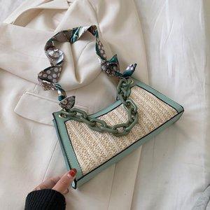 SWDF Summer Straw Bags For Women 2020 Scarf Design Crossbody Shoulder Bag Female Handbags Lady Cute Chain Travel Beach Totes
