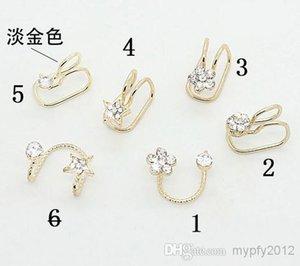 Hotsale No Ear Pierced Ear Clip Earrings Silver Gold Plated EarClip Zircon Flower Design Stud Earrings Cuff Jewelry Unisex Ear Bones ZS