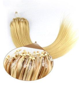 High Quality Cuticle Aligned Brazilian 50g straight Natural Black Brown Blonde Virgin Raw human hair extensions micro loop Ring