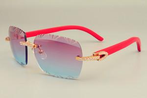 2019 الجديدة الأكثر مبيعا الطبيعية الحمراء خشبية معبد النظارات الشمسية، فريدة من نوعها تصميم الماس نظارات شمس 8300765 محفورة نمط حجم عدسة: 56-18-135mm