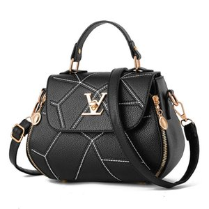 Высокого качество ПУ кожи V письмо женской сумки 2019 нового ведро мешок Корейских моды вышивка линия дикого плечо сумка Женского Crossbody пакет