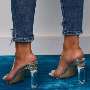 Estate Europa e gli Stati Uniti esplosivi Sandali spessi tacco sandali sexy di cristallo tallone formato massimo 42