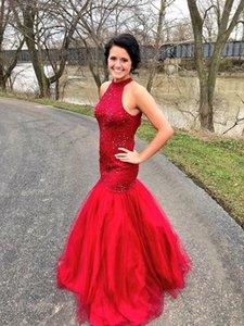 Elegant Real Images Prom Dresses Applique Floor Length Mermaid Halter Neck Evening Party Gowns Red Elastic Satin Bridesmaid Dresses