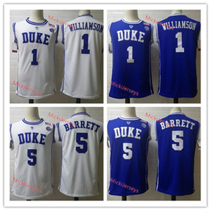 Mens Duke Blue Devils Zion Williamson Jersey Basketball Blanc Bleu Rond Col # 5 RJ. Barrett # 1 Zion Williamson Duke Jersey S-3XL