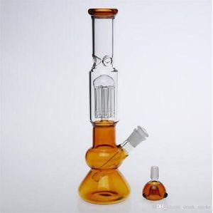 bong vaso de precipitados con agua de diseño de vidrio gracia recta qround tubo bong fresco mirada pipas de agua de vidrio de tuberías de agua de color amarillo