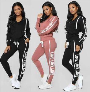 2019New Women Aktiv-Set Trainingsanzüge Hoodies Sweatshirt + Hose Laufsport Trainingsanzug 2 Stück Jogging-Sets survetement femme clothing