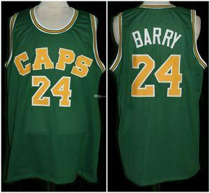 Rick Barry # 24 Washington Caps sarı mayo Basketbol Jersey Erkekler Dikişli Özel Sayı Adı Formalar Retro