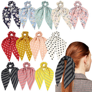 Girls Ribbon Hair Rope Chiffon Scrunchies Accessories Ponytail Holder Streamers Hairbands Lady Floral Striped Dot Scrunchy Headwear M1983