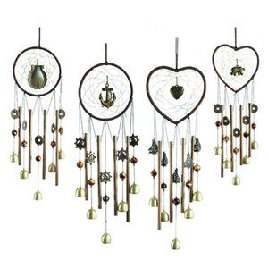 Dreamcatcher tubo de metal de Bell Wind Chime Hanging Heart Shaped Craft Pendant Para Casa Porta Decoração