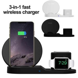 3 en 1 10W Chargeur rapide sans fil Dock Support rapide de charge pour l'iPhone 11 X XR XS Max Montre 1/2/3/4 écouteurs Samsung S10 note 10 plus