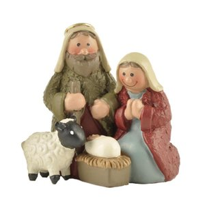 Polyresin Jesus Family Baby and Sheep Statue Mary Miniatures Fugurines Holy Communion Decoration Marie Joseph Church Pet Supplies