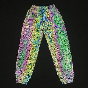 Осень зима красочные светоотражающие брюки Мужчины Женщины Повседневная хип-хоп бегунов полосатый отражают свет брюки груза падения