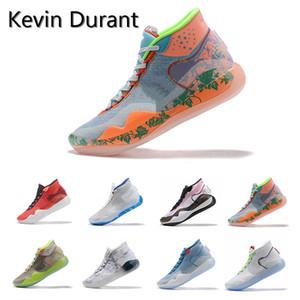 2019 nuevos zapatos de KD Universidad 12 EYBL Multi-Color Rojo ICE baloncesto original Kevin Durant XII KD12 para hombre de las zapatillas de deporte Entrenadores Tamaño 7-12