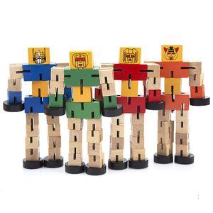 15cm / 6inches Holztrans Roboter-Auto-Baby-Kind-Abbildung Spielzeug-netten Roboter-Modell Desktop-Dekor-LA370 DHL-freie
