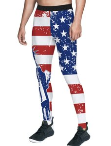 Vintage American Flag Statue Of Liberty Pants Men Independence Day Tummy Control Hidden Pocket High Waisted Compression Fauxleat