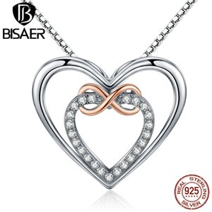 Bisaer 925 Sterling Silver Infinity Colgante Silver Heart J190711 Forever Women Valentine GXN121 Día Sterling Love Regalo Collar Joyería JKBW