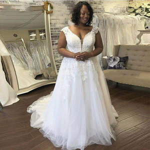Inexpensive African A Line Wedding Dresses Plus Size Tulle Lace Summer Country Wedding Dress Scoop Neckline Corset Back robes de mariée 2020