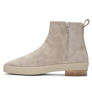Scarponcino nuovi uomini di 2019 in pelle scamosciata genuina scarpe fatte a mano di inverno degli uomini del progettista Mens Zipper Boots Casual 13 # 25 / 20D50