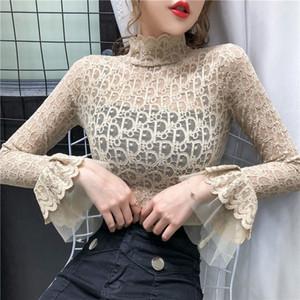 2020 Spitze Perspektive Horn Hülse Langarm T-Shirt für Frauen mit dünnen halben hohen Kragen undergarment modischen neuen Stil in der frühen sprin
