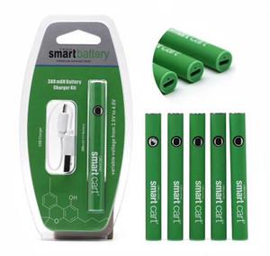 Smart Cart Battery Kit Green premium vape battery 380mAh Preheat VV Variable Voltage Bottom USB Charger Blister Box For 510 Cartridges