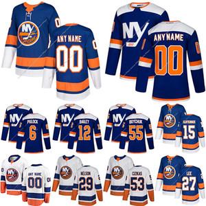 Islander de New York 13 Mathew Barzal 27 Anders Lee 53 Casey Cizikas 6 Ryan Pulock Personnaliser un nombre tout maillot de hockey nom