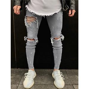 Erkek Ripped Jeans hip hop tarzı Distrressed Skinny Kalem Pantolon Streetwear Yeni Erkek Jeans