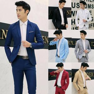 Moda Classic Mens Formal Negócios Suit Botão Blazer Single Man Plain Long Sleeve Slim Fit Blazers Jacket Brasão