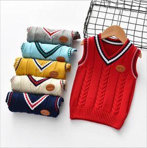 Baby Clothes Boys Knit Vest Sweaters Cotton Striped School Uniform Waistcoat Child Fashion Crochet Outerwear Kids INS Knitwear Outwear 4902