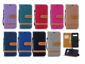 S10 Lite Plus Monedero de cuero del caso para LG G-7 Huawei P inteligente P20 Y9 7A Y6 Galaxy J4 J6 2018 A01 A21 Jean híbrido de tela Hit correa de la cubierta del tirón
