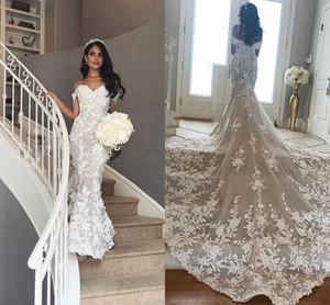 Off Shoulder Mermaid Wedding Dresses Dubai Arabic Floral Appliques 2020 Sexy Backless Bridal Gown Chapel Train Vestidos De Novia AL6319