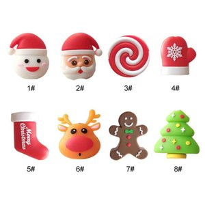 Data Line Protector Christmas Lovely Cartoon USB Cable Bite Santa Claus Tree Deer Toys Charger Cord Animals Holder with Retail Box