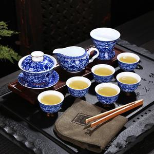 Blue and white porcelain tea set kung fu gift tea set Chinese traditional ancient tea set
